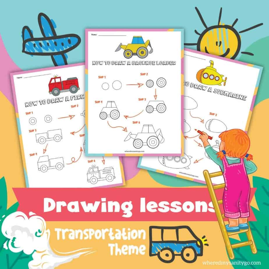 collage of three free printables including how to draw a firetruck, how to draw a backhoe and how to draw a submarine with text stating drawing lessons transportation and clipart of girl on ladder